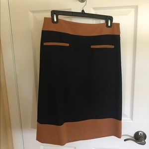 Loft tan and navy skirt